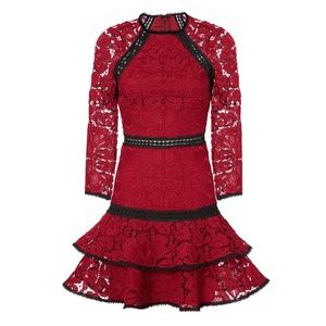 ALEXIS Red Kharis 3/4 Sleeves Lace Mini Dress